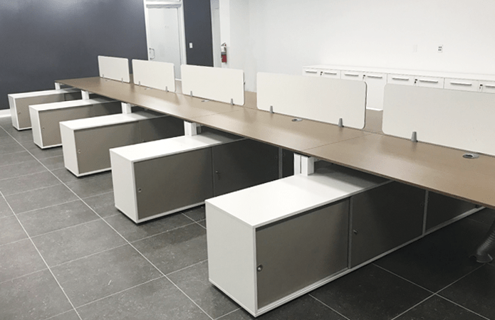 Contemporary Office Furniture: Workstations with Service Unit just installed!