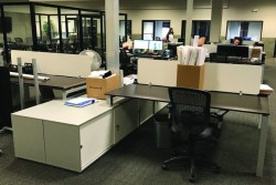 Workstations with Service Units in this Open Office! But don't forget your Plants