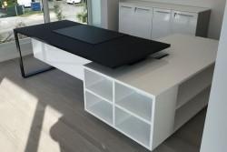 In Stock Combination | Planeta Black Glass Desk and White Service Unit Installed in Doral, FL