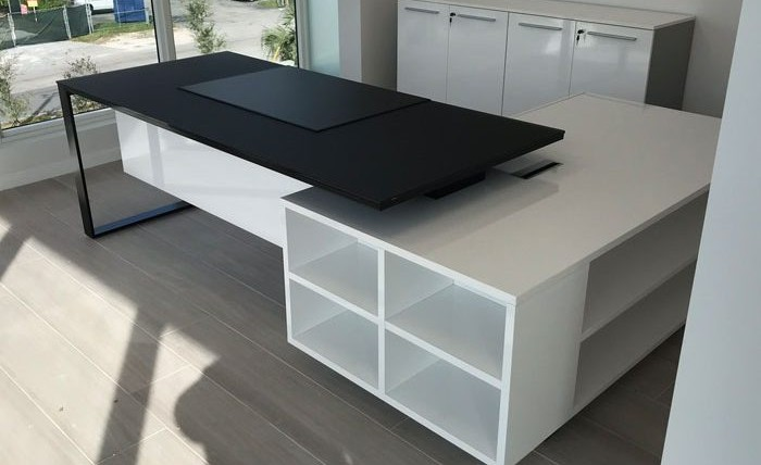 In Stock Combination | Planeta Black Glass Desk and White Service Unit Installed in Doral, FL
