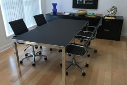 Rym Black Glass Matte Meeting Table: No Objection!