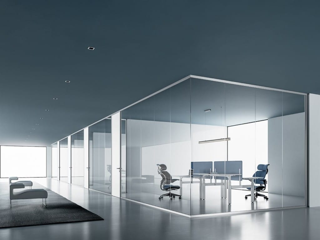 Partitions Single Glass Blue