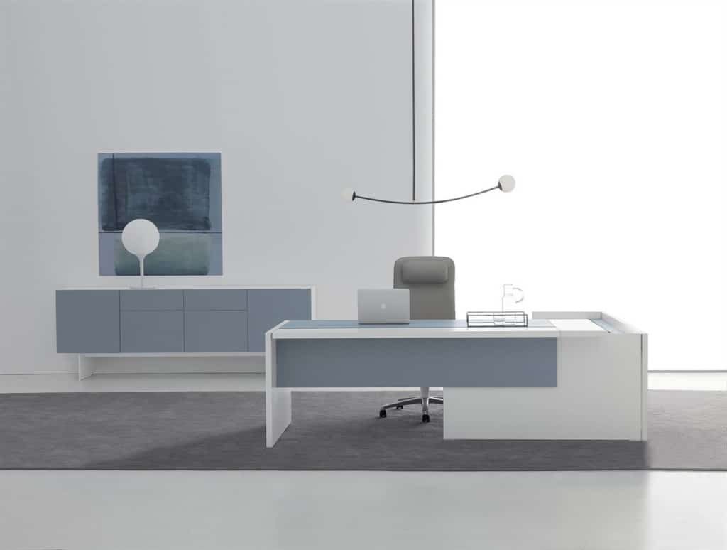 Modern Office Furniture Desk and Credenza White and Blue