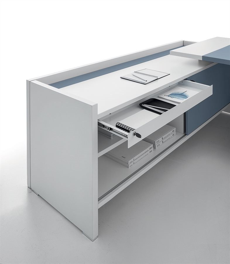 Modern Office Furniture L Shaped Desk White and Blue