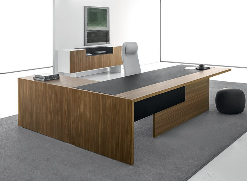 Modern Office Furniture Desk and Credenza Black and Walnut