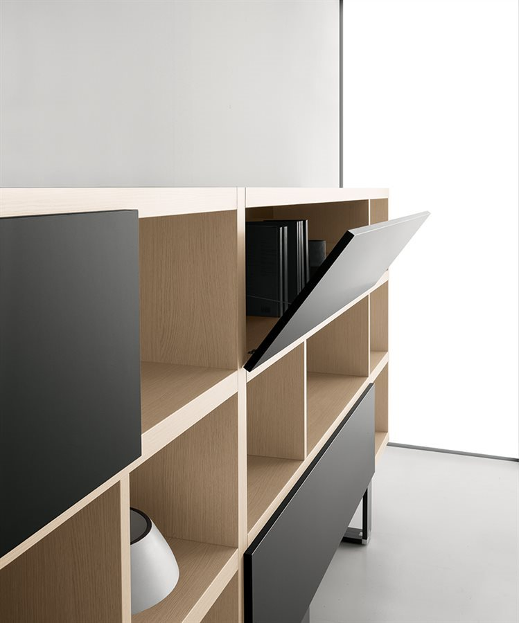 modern office bookcase with doors