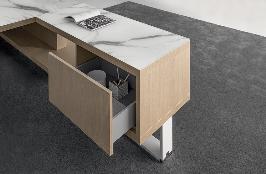 desk service unit with drawers in marble and light oak