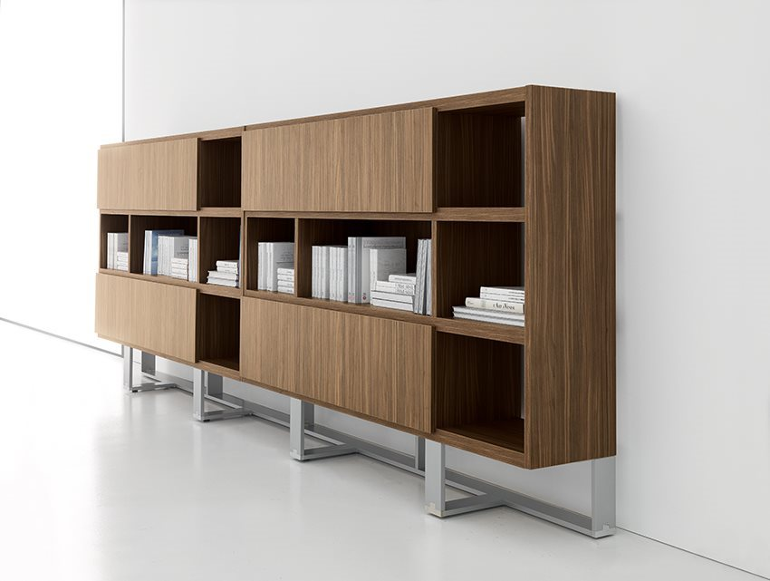 Miami Modern Office Bookcase walnut