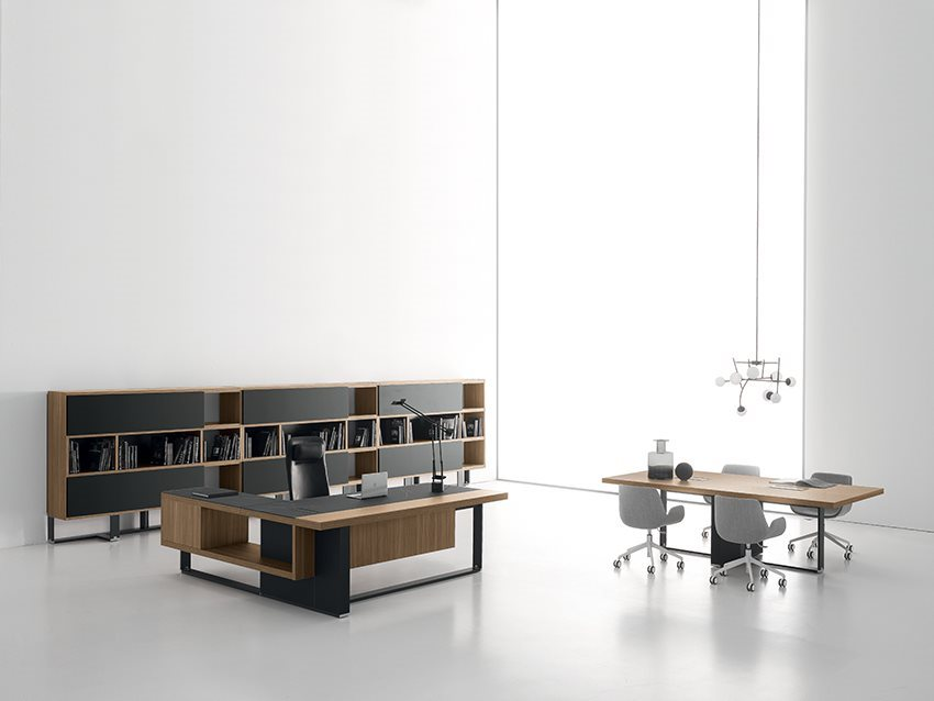 Modern Office Furniture L Shaped Desk and Bookcase