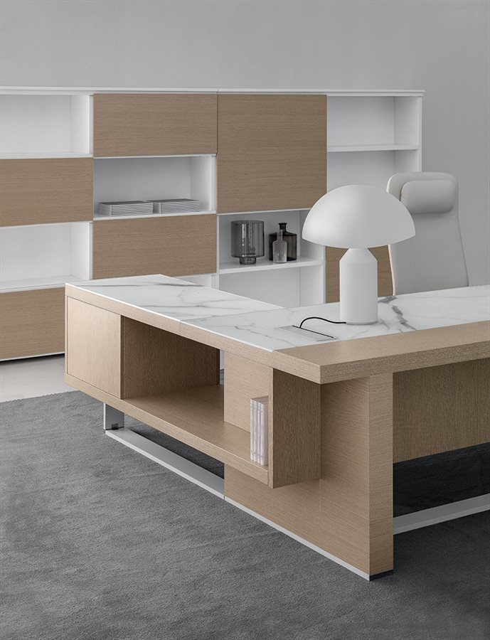 modern office desk marble and light oak with bookcase