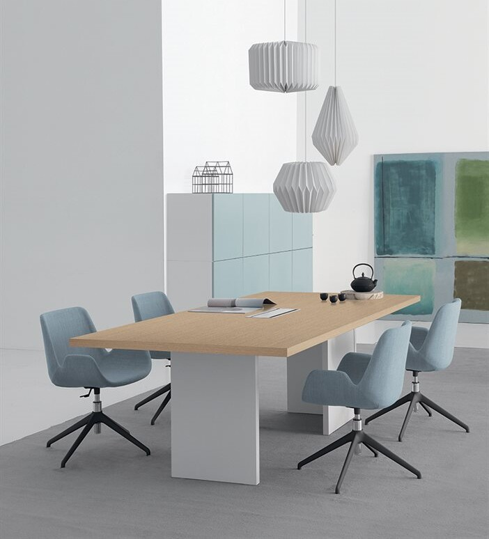 conference table with chairs and column legs
