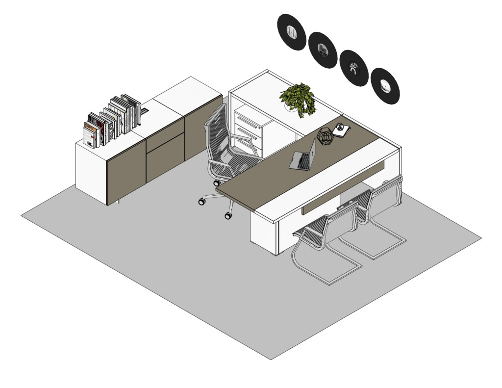 Arena and white executive desk